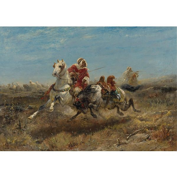 Adolf Schreyer , German 1828-1899 The Chase oil on canvas