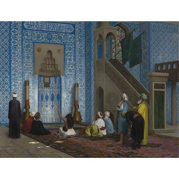 Jean-Léon Gérôme , French 1824-1904 Rüstem Pasha Mosque, Istanbul oil on canvas