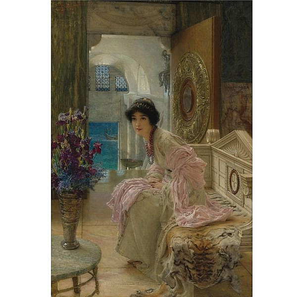 - Sir Lawrence Alma-Tadema, O.M., R.A. , British 1836-1912 Watching and Waiting oil on panel