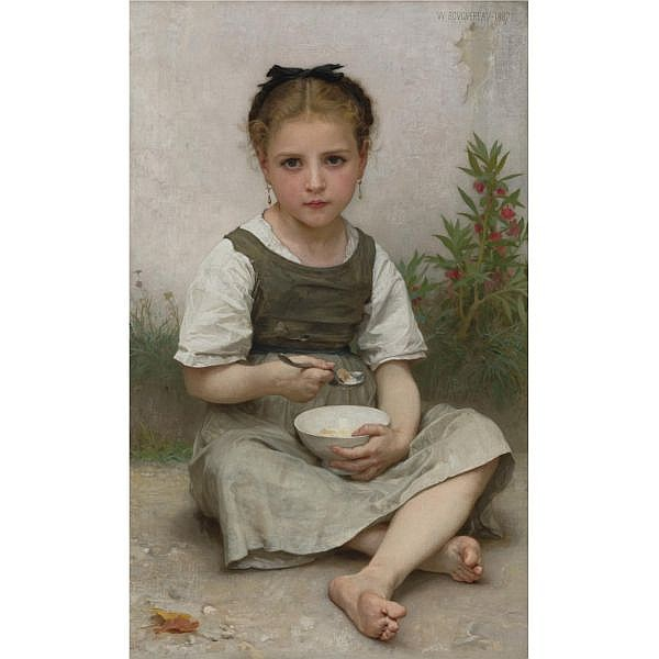 William Bouguereau , French 1825-1905 LE DÉJEUNER DU MATIN oil on canvas