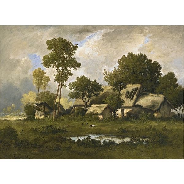 Léon Richet , French 1847-1907 THE FARM oil on panel