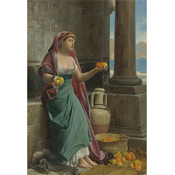 Jean-Jules-Antoine Lecomte du Noüy , French 1842-1929 The Citrus Seller oil on canvas