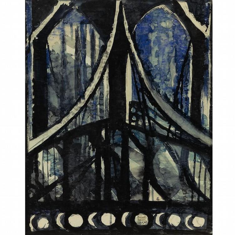 JOSEPH STELLA 1880-1946 STUDY OF THE BROOKLYN BRIDGE