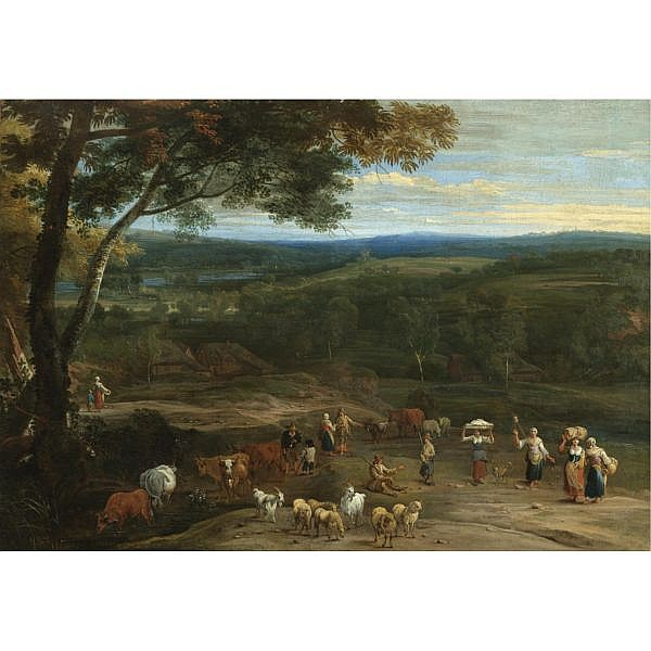Lucas Achtschellinck , Brussels 1626-1699 An extensive landscape with figures on high ground passing a herdsman grazing his cattle and sheep oil on canvas