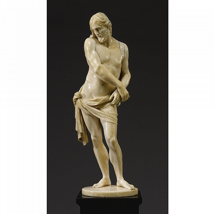 A FRENCH OR GERMAN IVORY FIGURE OF CHRIST BOUND, AFTER FRANÇOIS DUQUESNOY (1597-1643), 18TH CENTURY