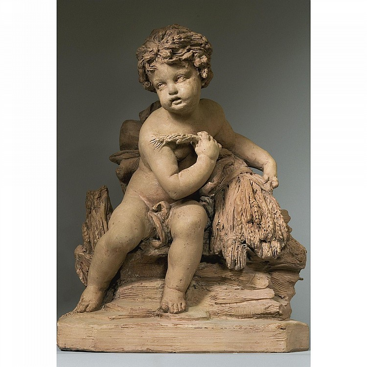 AN ITALIAN TERRACOTTA ALLEGORICAL FIGURE OF SUMMER, FROM THE WORKSHOP OF FILIPPO DELLA VALLE (1698-1768), MID 18TH CENTURY