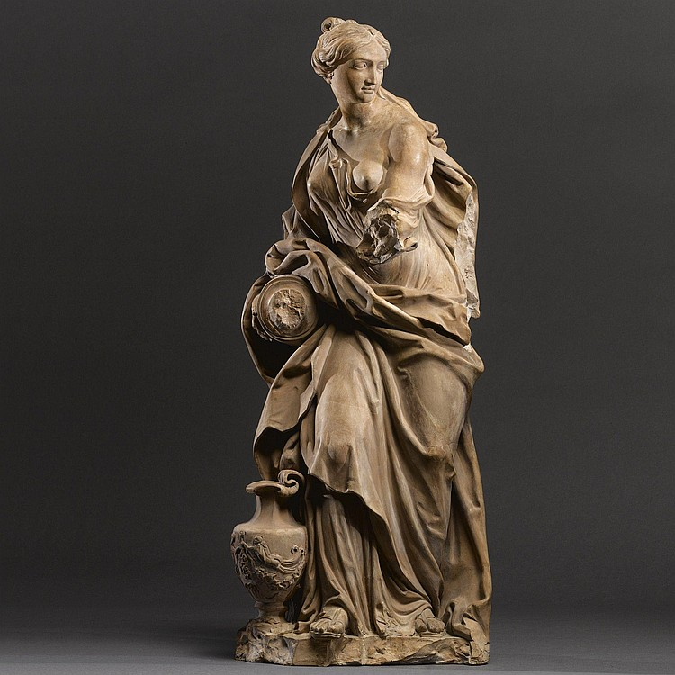 AN ITALIAN TERRACOTTA ALLEGORICAL FIGURE OF TEMPERANCE, BY FILIPPO DELLA VALLE (1698-1768), FIRST HALF 18TH CENTURY