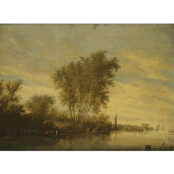Salomon van Ruysdael Naarden 1600/3 - 1670 Haarlem , river landscape with fishermen setting out their nets, a ferry beyond oil on canvas