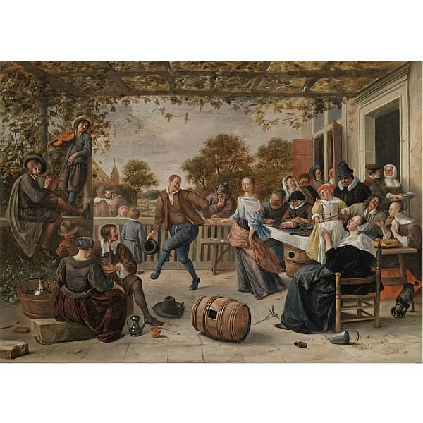 Jan Havicksz. Steen Leiden 1626 - 1679 , A terrace with a couple dancing to a pipe and fiddle, peasants eating and merrymaking behind oil on oak panel