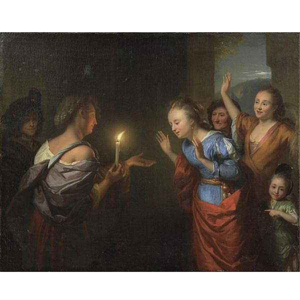 Godfried Schalcken Made, near Breda 1643 - 1706 The Hague , the parable of the lost piece of silver oil on canvas