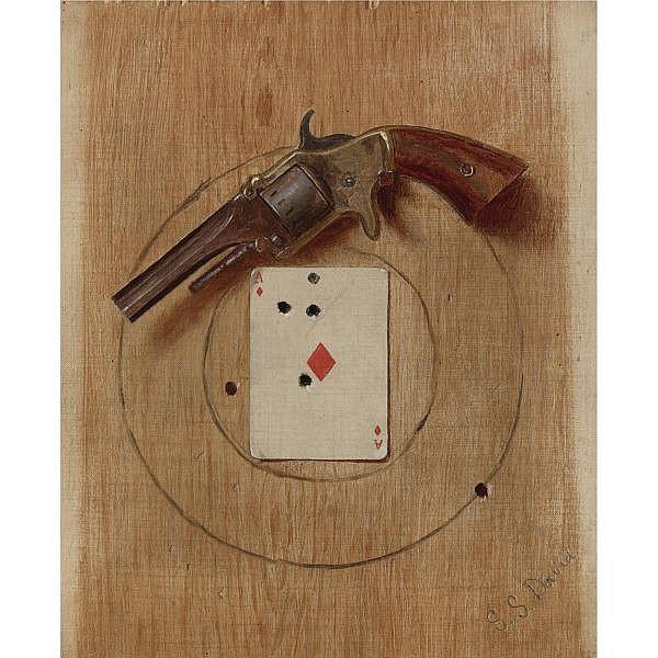 De Scott Evans 1847-1898 , Pistol and Ace   oil on canvas