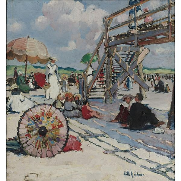 Ruth A. Temple Anderson 1884-1939 , Beach At Gloucester oil on canvas