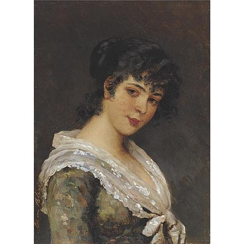 Eugen von Blaas , Portrait of a young woman