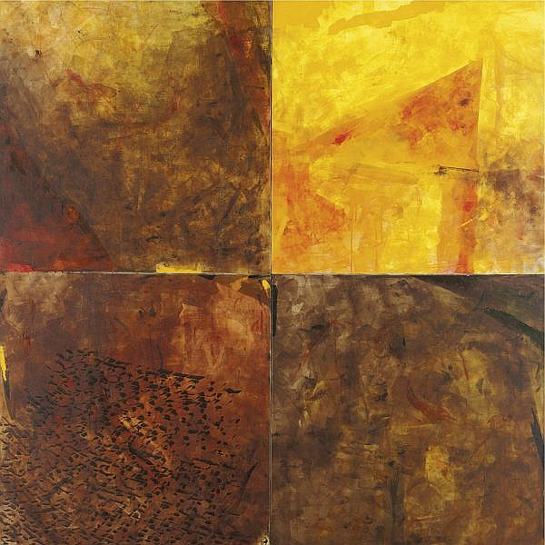 Akhilesh (b. 1956) , An Untitled work in four panels Oil on canvas