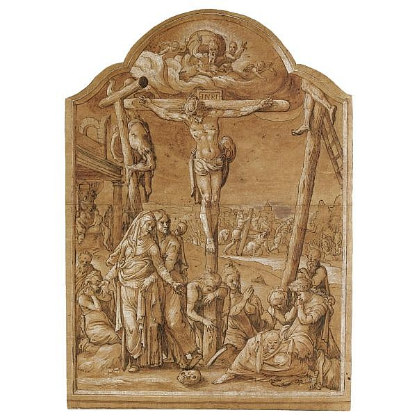 Pieter Aertsen Amsterdam 1507/8 - 1575 , the crucifixion pen and black ink and brown wash, heightened with white, within a drawn frame with a shaped top
