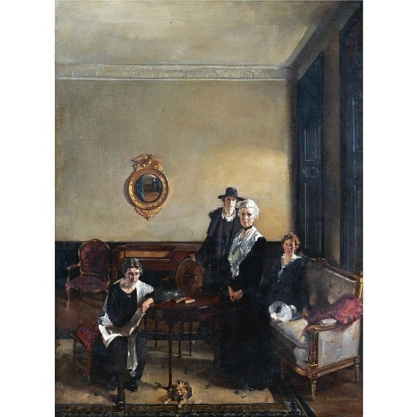 David Alison, RSA, RP 1882-1955 , portrait of mrs john brown and her daughters oil on canvas, unframed