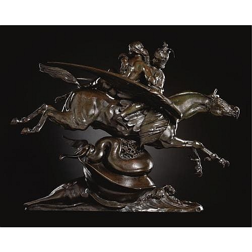 f - Antoine-Louis Barye French, 1795-1875 , Angélique et Roger, montés sur l'hippogriffe (bouche fermée) [seconde version] Angelica and Roger mounted on the hippogriff