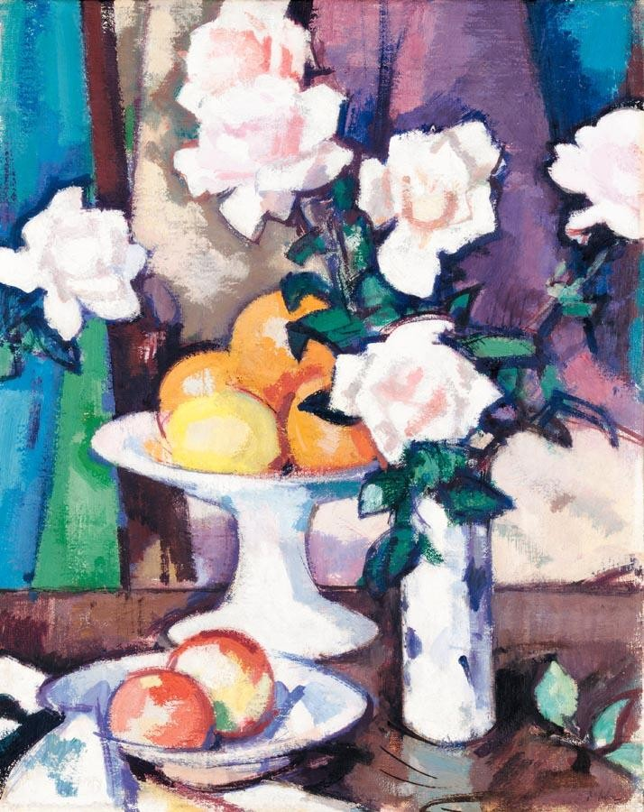 f - SAMUEL JOHN PEPLOE, R.S.A. 1871-1935 STILL LIFE WITH PINK ROSES AND ORANGES