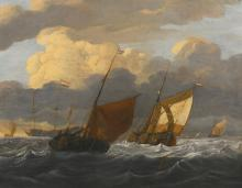 WIGERUS VITRINGA | A <em>kaag</em> and a <em>smalschip</em> in choppy seas, a Dutch whaler at anchor beyond