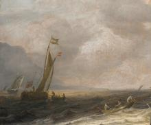 PIETER MULIER THE ELDER | A <em>kaag</em> on a choppy sea, a rowing boat in the foreground