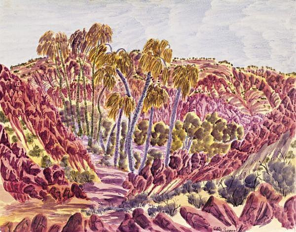Otto Pareroultja circa 1914-1973 PALM VALLEY watercolour on illustration board