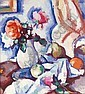 SAMUEL JOHN PEPLOE, R.S.A. 1871-1935 ROSES IN A WHITE VASE WITH FRUIT, Samuel John Peploe, Click for value