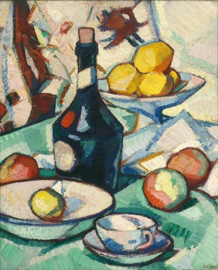 f - SAMUEL JOHN PEPLOE, R.S.A. 1871-1935 STILL LIFE WITH A BENEDICTINE BOTTLE AND FRUIT