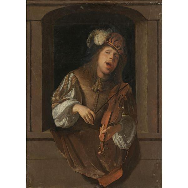Jacob Ochtervelt Rotterdam 1634 - 1682 Amsterdam , A singing violinist, probably a self-portrait, set within a niche oil on panel