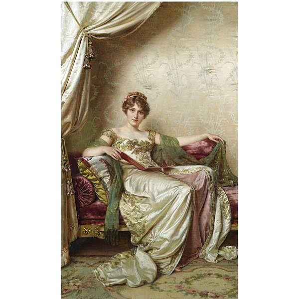 - Frédéric Soulacroix , French 1858-1933 Elegante oil on canvas