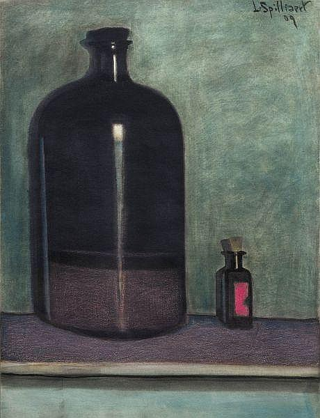 Léon Spilliaert , 1881 - 1946   GRAND FLACON ET PETITE BOUTEILLE encre de chine, aquarelle, crayons de couleur et pastel sur papier
