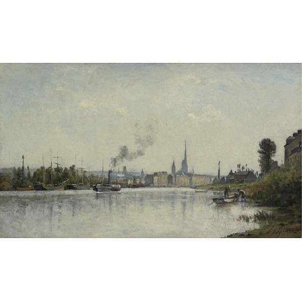 Stanislas Lépine , 1835-1892 Le Seine à Rouen Oil on canvas
