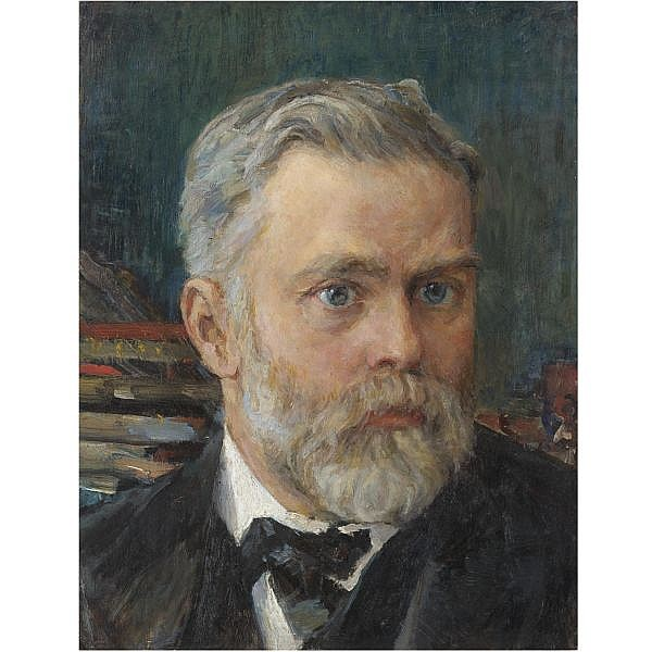 Valentin Alexandrovich Serov , 1865-1911 Portrait of Emmanuel Nobel oil on board