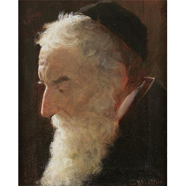 Lazar Krestin 1868-1938 , Portrait of a Rabbi oil on canvas