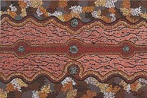 MICHAEL NELSON TJAKAMARRA BORN CIRCA 1949 MIKILANGU 1984 122 by 182. 5 cm Synthetic polymer paint on canvas Bears artist's name, size and Papunya Tula Artists catalogue number MN840903 on the reverse Provenance: Painted at Papunya during 1984 for