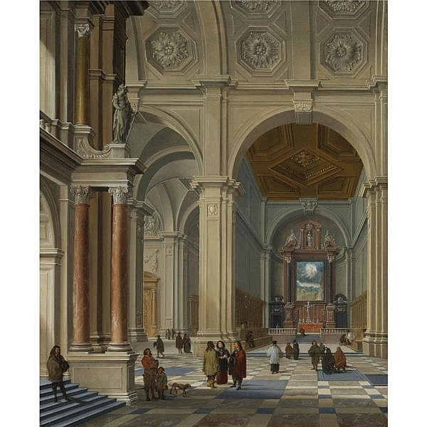 - Bartholomeus van Bassen , Antwerp circa 1590 - 1652 The Hague Interior of a Vaulted Church   oil on panel