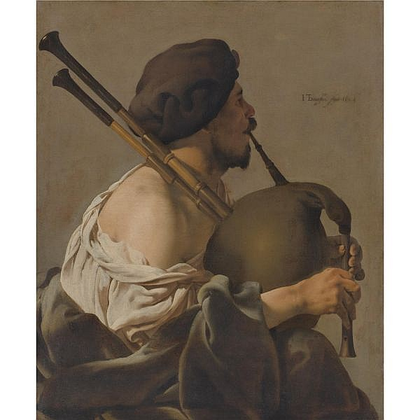 Hendrick Ter Brugghen , Deventer 1588 - 1629 Utrecht Bagpipe player in Profile oil on canvas