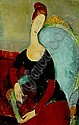 Amedeo Modigliani 1884-1920 portrait de JEANNE HEBUTERNE assise dans un fauteuil, Amedeo Modigliani, Click for value