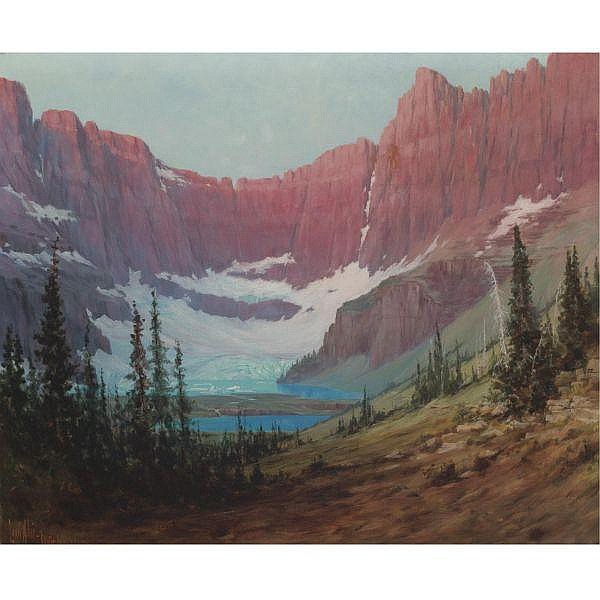 Louis Benton Akin 1868-1913 , Iceberg Lake--Mountains oil on canvas