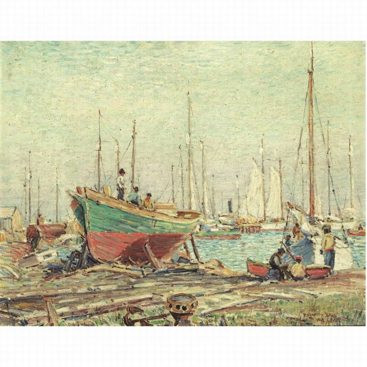 REYNOLDS BEAL 1867-1951 BOATS IN DRYDOCK