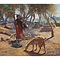 Ludwig Deutsch , French 1855 - 1935 The young goat herder of Shobrah, Egypt oil on canvas