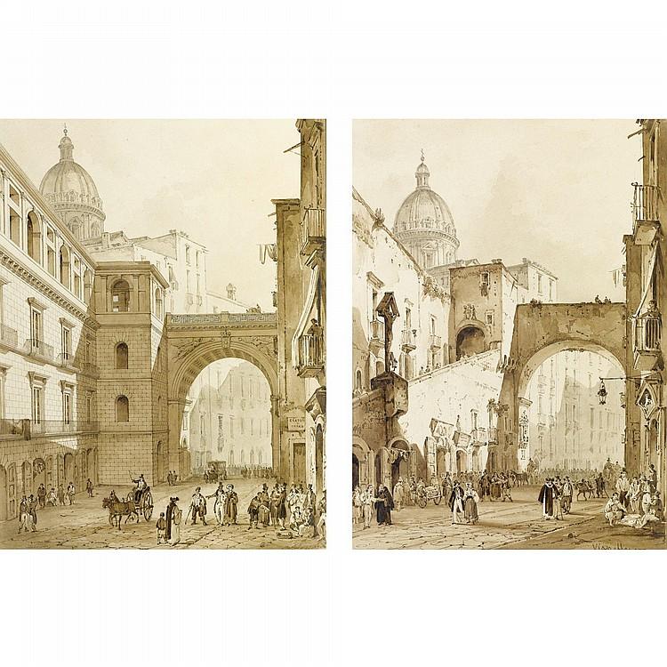 DUE VEDUTE A PENNA, INCHIOSTRO BRUNO, ACQUERELLO BRUNO E TRACCE DI MATITA NERA SU CARTA ACHILLE VIANELLI (1803-1894) E DESIDERIO DE ANGELIS, NAPOLI, CIRCA 1835