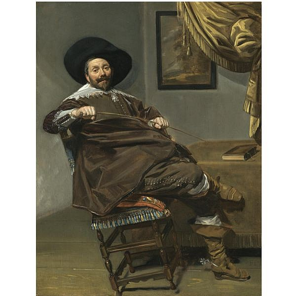 - Frans Hals , Antwerp 1581/5 - 1666 Haarlem Portrait of Willem van Heythuysen, seated on a chair and holding a hunting crop oil on oak panel