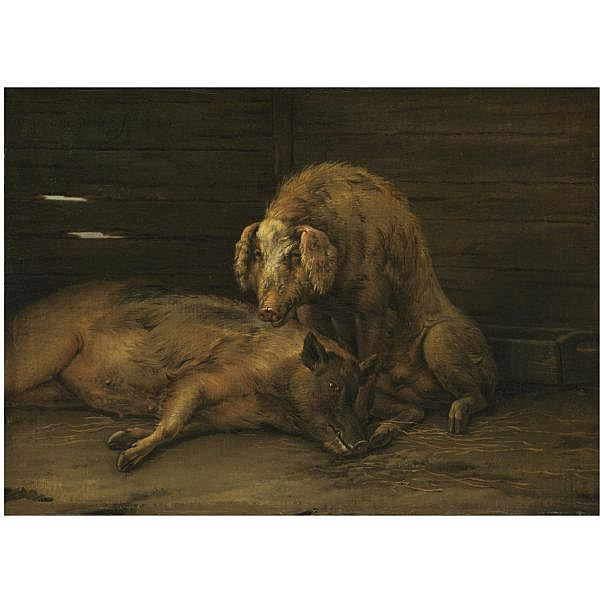 Paulus Pietersz. Potter , Enkhuizen 1625 - 1654 Amsterdam Two pigs in a sty oil on canvas