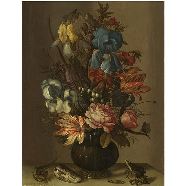 Balthasar van der Ast , Middelburg 1593/94 - 1657 Delft Still life of roses, tulips, irises, French marigold, and lily of the valley in a glass vase, on a ledge, flanked by shells, a lizard and a caterpillar oil on panel