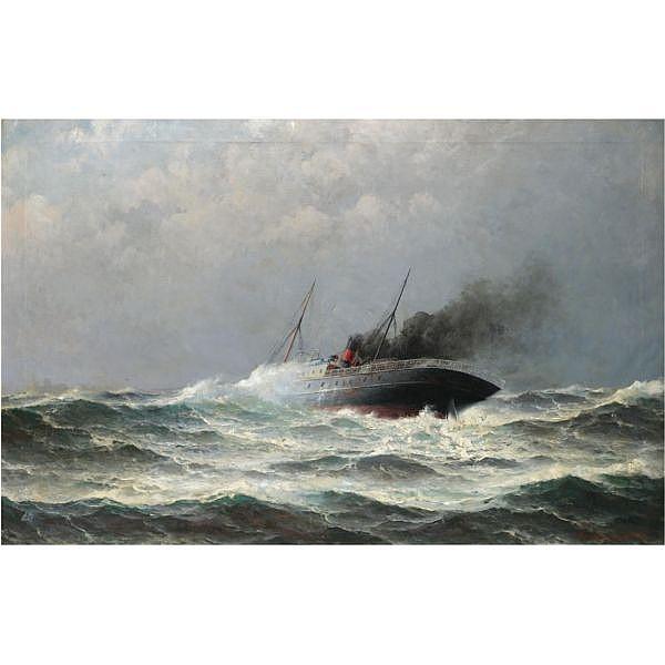 Lars Haaland 1855-1938 , Steamship in heavy seas oil on canvas