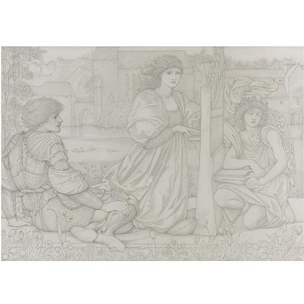 - Sir Edward Coley Burne-Jones, Bt., A.R.A., R.W.S. , 1833-1898 chant d'amour   pencil