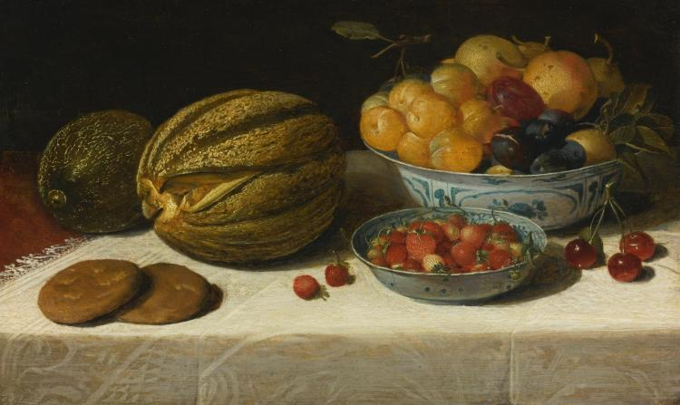 FLORIS VAN DIJCK | Still life with melons, plums, cherries, and bread on a table draped with a white damask tablecloth