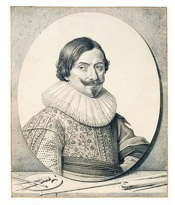 *David Bailly (1584-1657) portrait of the painter francois gysels.  Pen and black ink and two