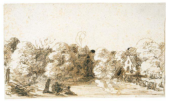 *Hendrick Goudt (1583-1648) view of houses along a wooded riverbank, with figures and animals.  Pen