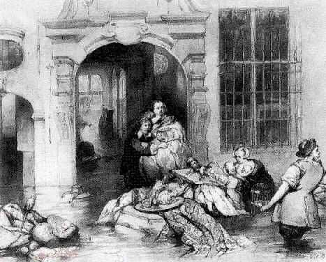 HUBERTUS VAN HOVE (1814-1865) A FAMILY SAVING THEIR PRECIOUS GOODS FROM THE FLOOD